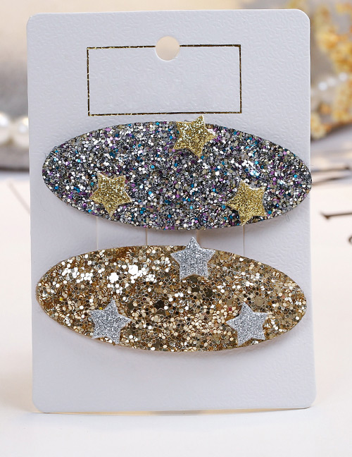 Fashion Gold Color+silver Color Star Shape Decorated Hair Clip (2 Pcs)