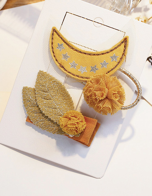 Fashion Yellow Moon Shape Decorated Hair Band&hair Clip(2 Pcs)