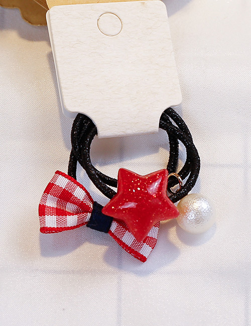Fashion Red Grid Pattern Decorated Hair Band (3 Pcs)