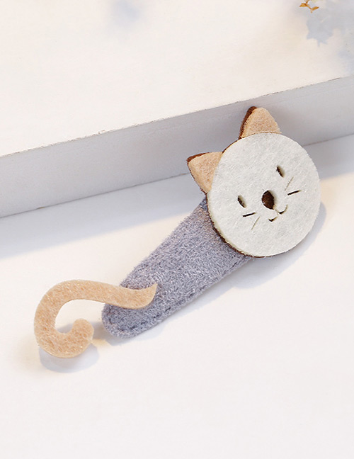 Fashion Gray Cat Shape Decorated Hair Clip