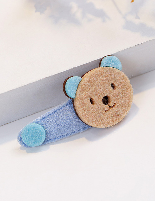 Fashion Blue+beige Bear Shape Decorated Hair Clip