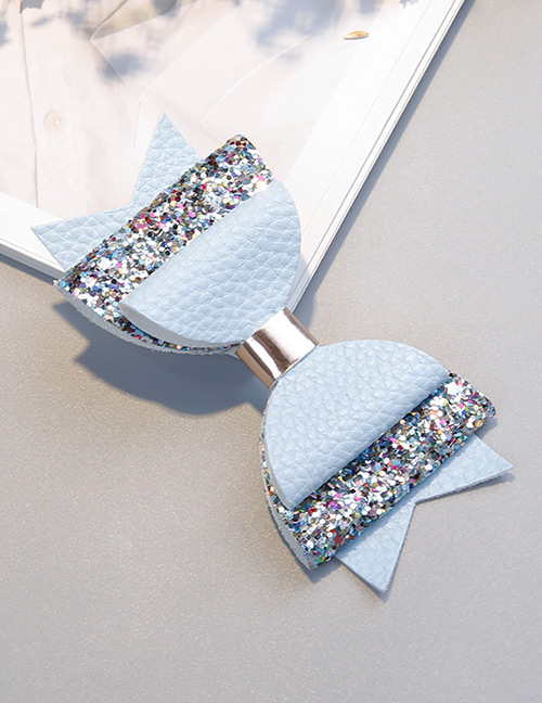 Fashion Light Blue Bowknot Shape Decorated Hair Clip