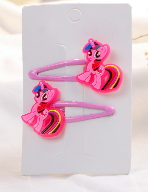 Fashion Pink Horse Shape Decorated Hair Clip (2 Pcs)