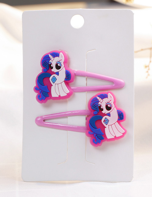 Fashion Plum Red Horse Shape Decorated Hair Clip (2 Pcs)