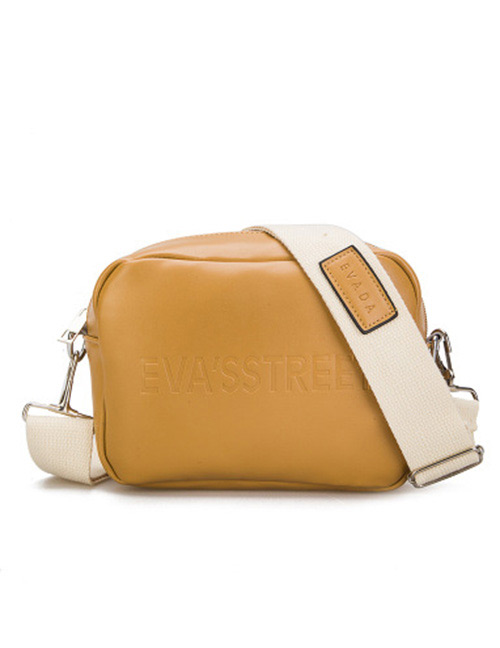 Simple Yellow Pure Color Decorated Shoulder Bag