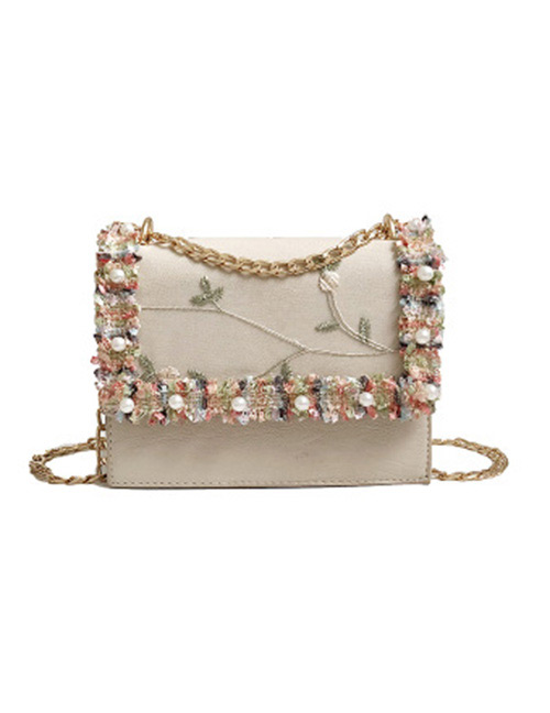 Fashion Beige Flower Pattern Decorated Shoulder Bag