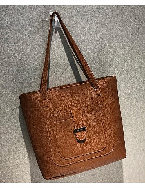 Fashion Brown Buckle Shape Decorated Shoulder Bag (4 Pcs )