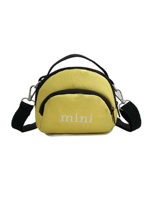 Simple Yellow Letter Pattern Decorated Handbag