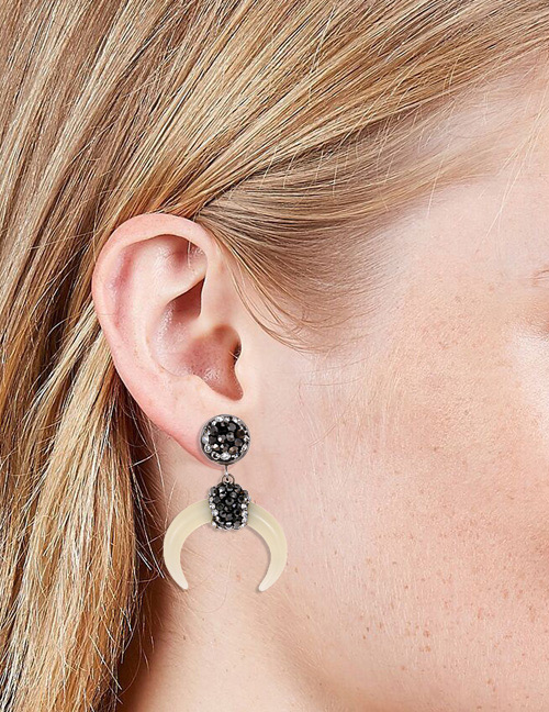 Fashion Black+white Moon Shape Decorated Earrings
