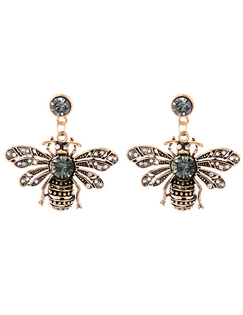 Fashion Antique Gold Bee Shape Decorated Earrings
