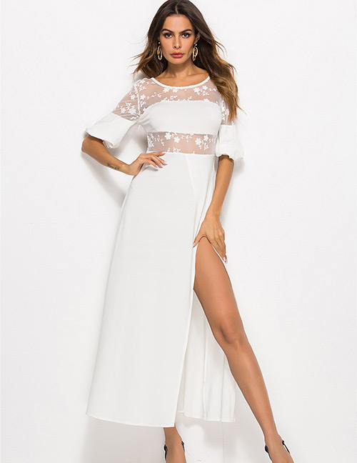 Simple White Pure Color Decorated Dress