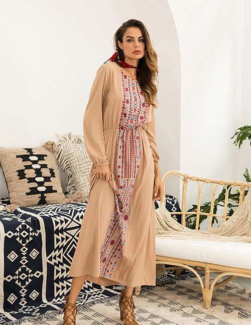 Fashion Khaki Flower Pattern Decorated Long Sleeve Dress