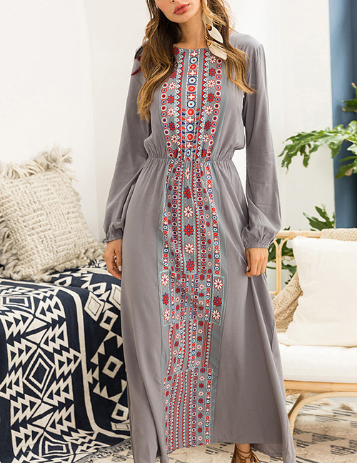 Fashion Gray Flower Pattern Decorated Long Sleeve Dress
