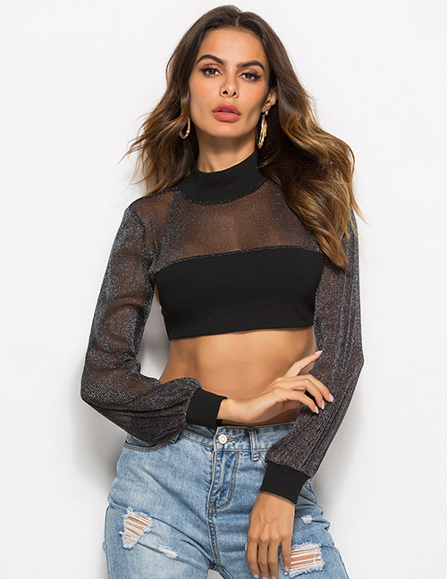 Sexy Black Pure Color Decorated Shirt