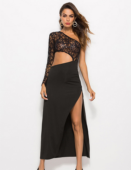 Sexy Black Hollow Out Design Pure Color Dress