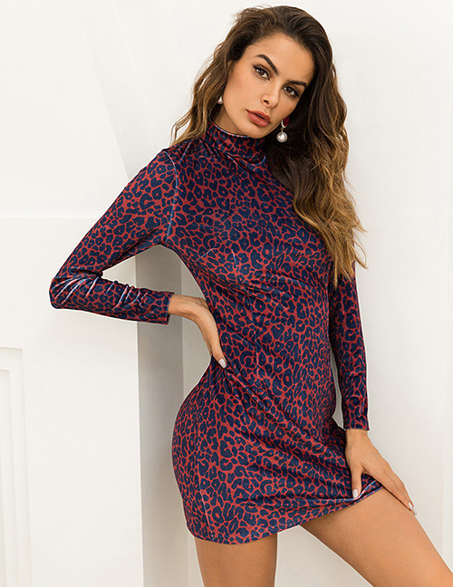 Fashion Red Leopard Pattern Decorated Dress