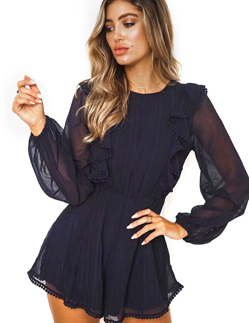 Fashion Navy Pure Color Decorated Dress