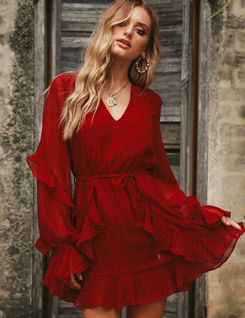 Fashion Red V Neckline Design Pure Color Dress