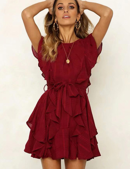 Fashion Claret Red Pure Color Decorated Dress