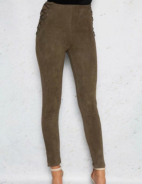 Fashion Olive Green Pure Color Decorated Trousers