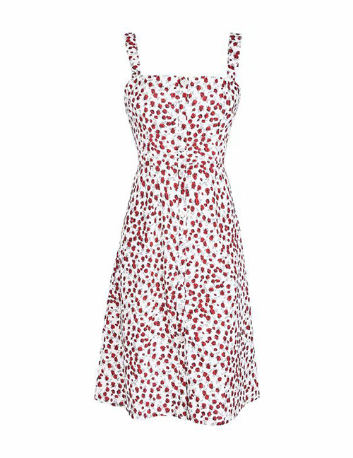 Fashion Red Flower Pattern Decorated Suspender Dress