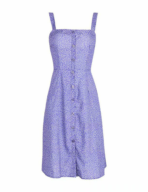 Fashion Purple Flower Pattern Decorated Suspender Dress