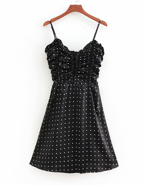 Fashion Black Spot Pattern Decorated Suspender Dress