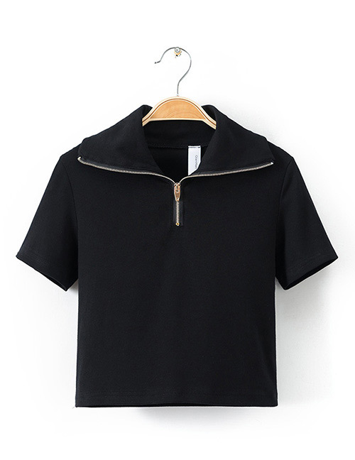 Fashion Black Zipper Decorated Pure Color Shirt