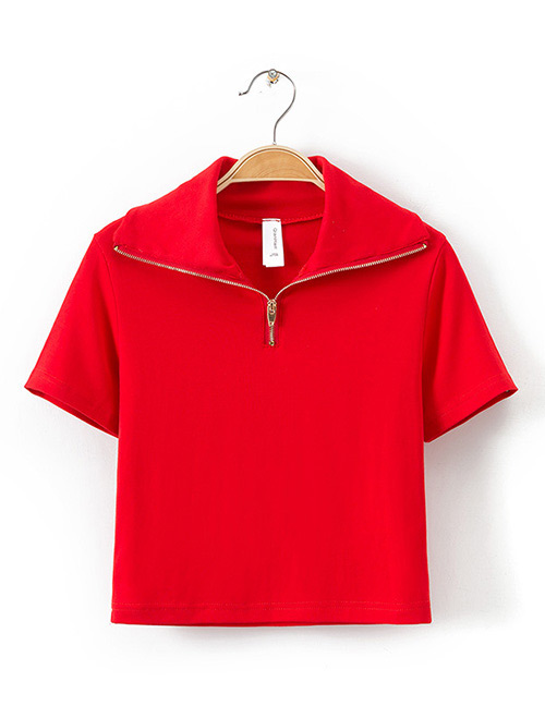 Fashion Red Zipper Decorated Pure Color Shirt