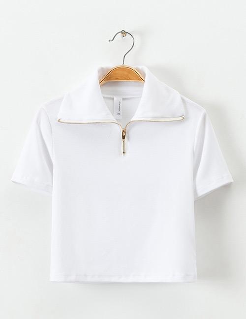 Fashion White Zipper Decorated Pure Color Shirt