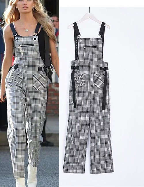 Fashion Gray Grid Pattern Decorated Trousers