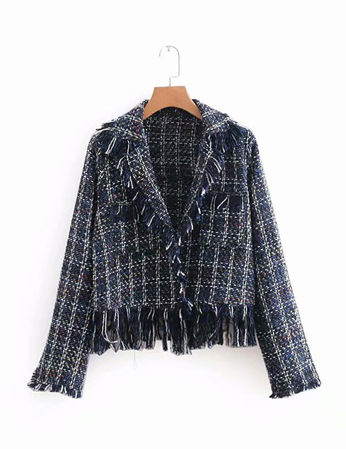 Fashion Navy Grid Pattern Decorated Coat