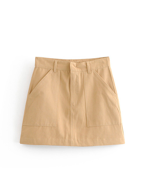 Fashion Khaki Pure Color Decorated Skirt