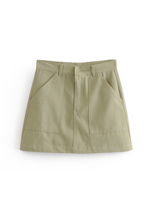 Fashion Olive Green Pure Color Decorated Skirt