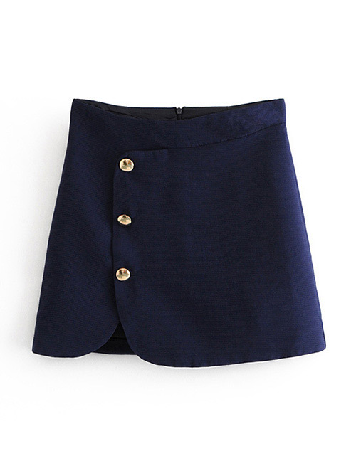 Fashion Navy Button Decorated Pure Color Skirt