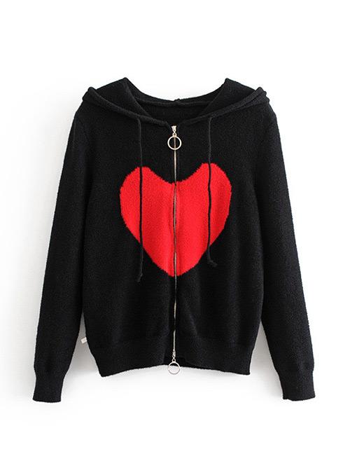 Fashion Black Heart Pattern Decorated Shirt