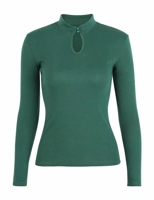 Fashion Green Pure Color Decorated Shirt