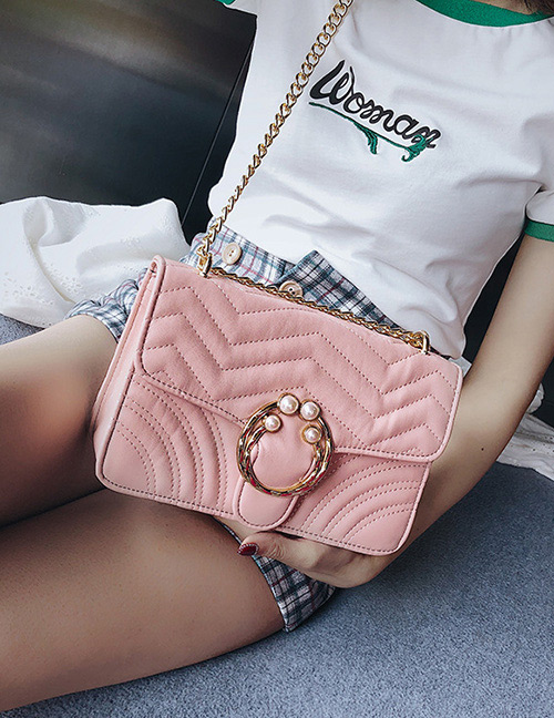 Fashion Pink Pearl Decorated Pure Color Shoulder Bag