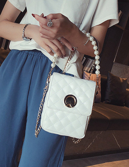 Fashion White Square Shape Decorated Shoulder Bag