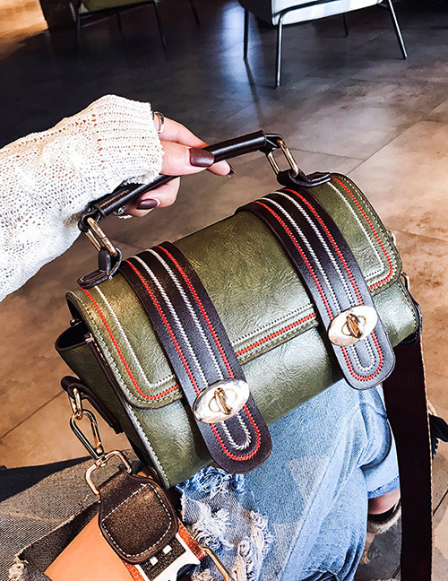 Trendy Green Buckle Decorated Shoulder Bag