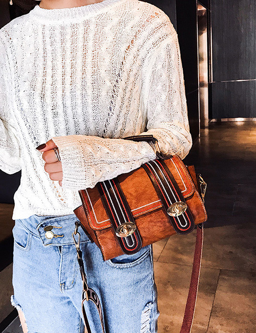 Trendy Brown Buckle Decorated Shoulder Bag