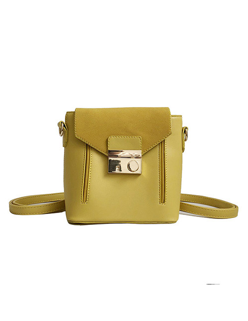 Fashion Yellow Buckle Shape Decorated Backpack
