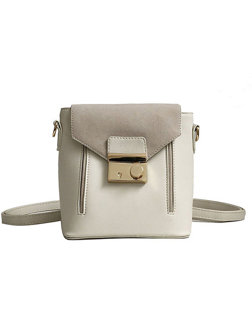 Fashion Beige Buckle Shape Decorated Backpack