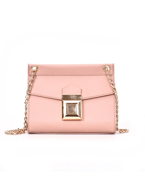 Simple Pink Buckle Shape Decorated Backpack