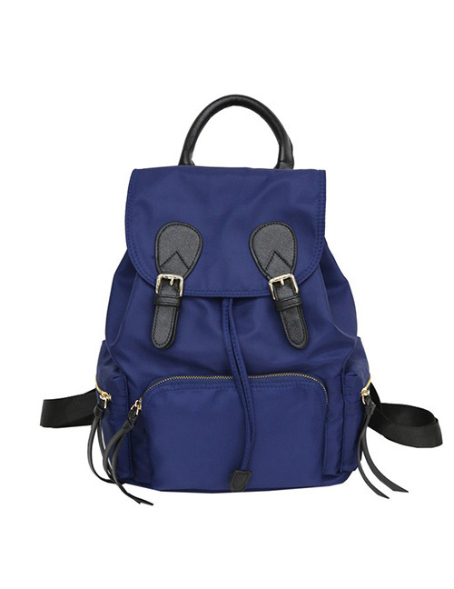 Fashion Blue Zipper Decorated Pure Color Backpack