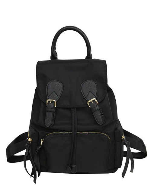 Fashion Black Zipper Decorated Pure Color Backpack