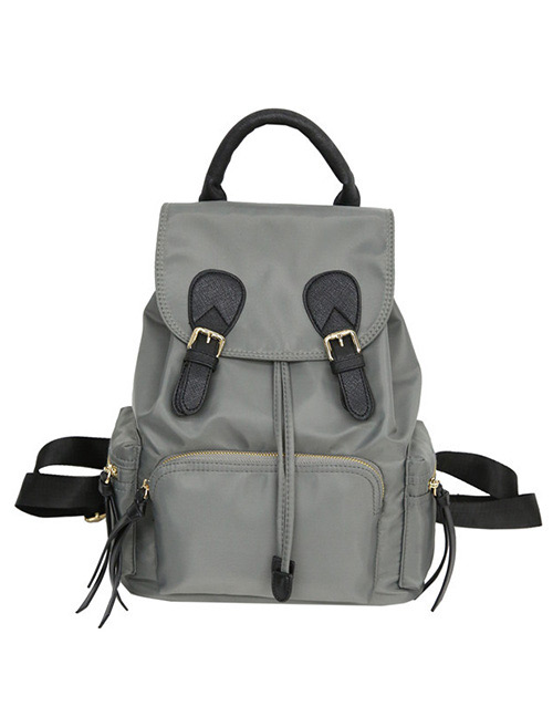 Fashion Gray Zipper Decorated Pure Color Backpack
