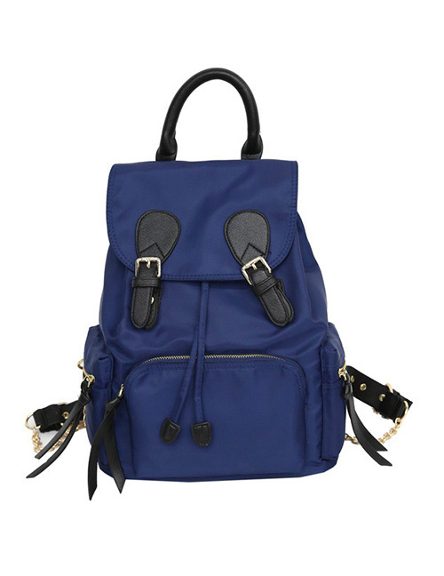 Fashion Blue Zipper Decorated Backpack