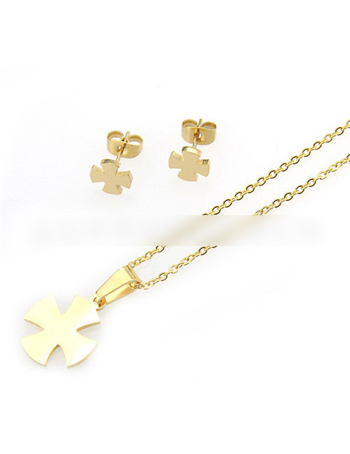 Fashion Gold Color Clover Shape Decorated Jewelry Set