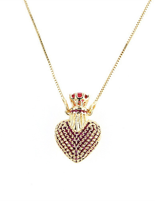 Fashion Red Heart Shape Decorated Necklace